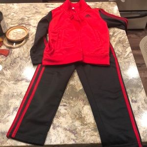Adidas tracksuit 4t black and red. Great condition